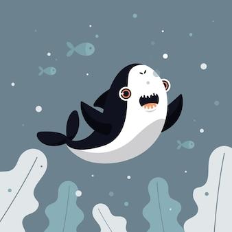 Platte ontwerp baby haai concept