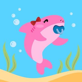 Platte ontwerp baby haai karakter concept