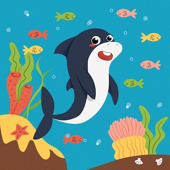 Platte ontwerp babyhaai en kleurrijke vissen