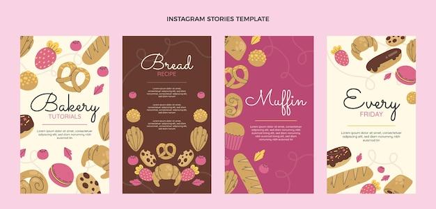 Platte ontwerp bakkerij instagram verhalen
