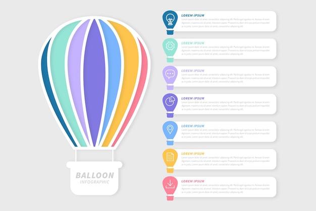 Platte ontwerp ballon infographic