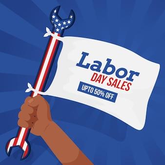 Platte ontwerp banner dag van de arbeid verkoop
