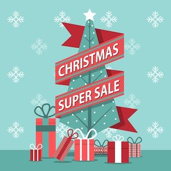 Platte ontwerp banner kerst super verkoop