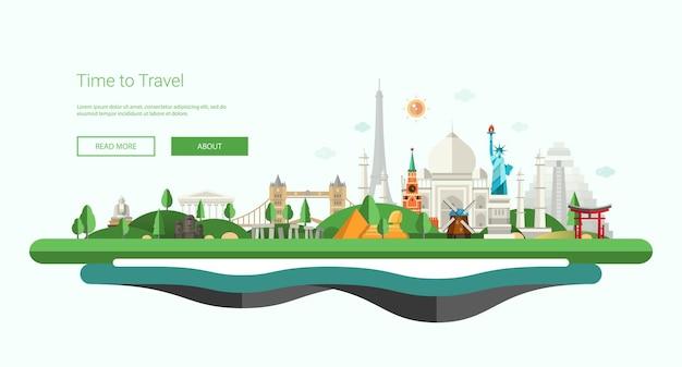 Platte ontwerp banner, koptekst illustratie met wereldberoemde bezienswaardigheden