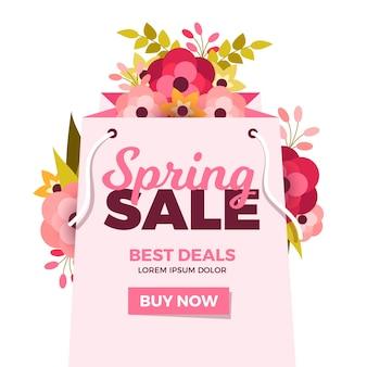Platte ontwerp banner lente verkoop