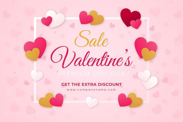 Platte ontwerp banner valentijnsdag verkoop