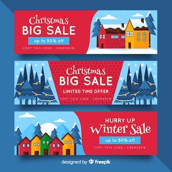 Platte ontwerp banners kerstsjabloon