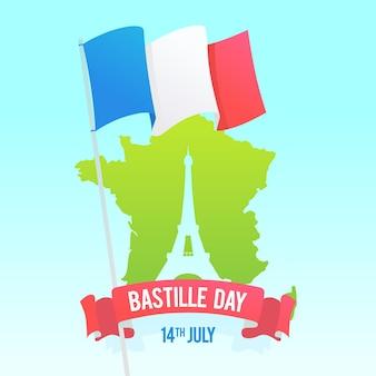 Platte ontwerp bastille dag evenement illustratie