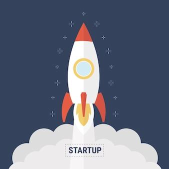 Platte ontwerp bedrijf opstarten lancering concept met raket pictogram.
