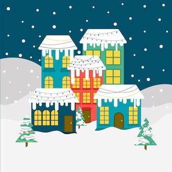 Platte ontwerp behang kerststad