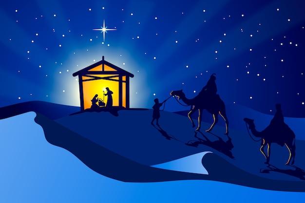 Platte ontwerp behang kerststal illustratie