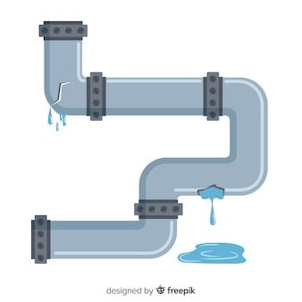 Platte ontwerp beschadigde waterpijp