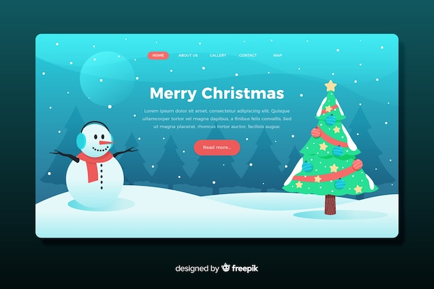 Platte ontwerp bestemmingspagina kerstsjabloon