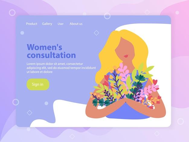Platte ontwerp bestemmingspagina met meisje met lentebloemen boeket vectorillustratie