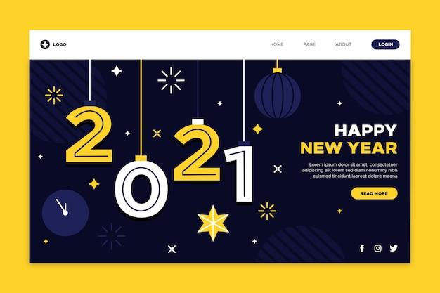 Platte ontwerp bestemmingspagina nieuwjaarsjabloon