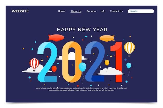 Platte ontwerp bestemmingspagina sjabloon voor het nieuwe jaar