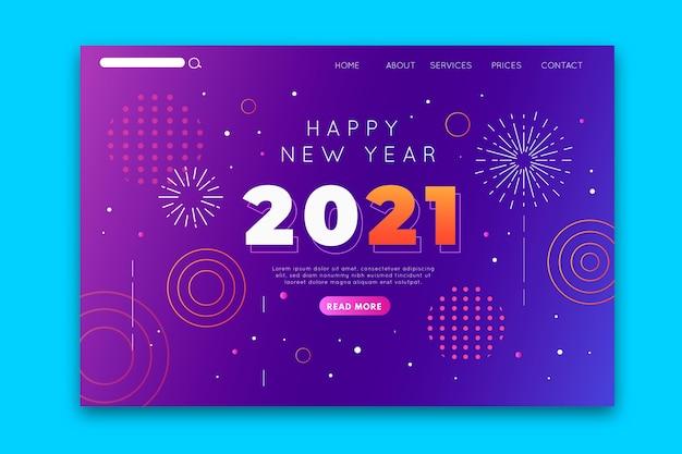 Platte ontwerp bestemmingspagina voor nieuwjaar