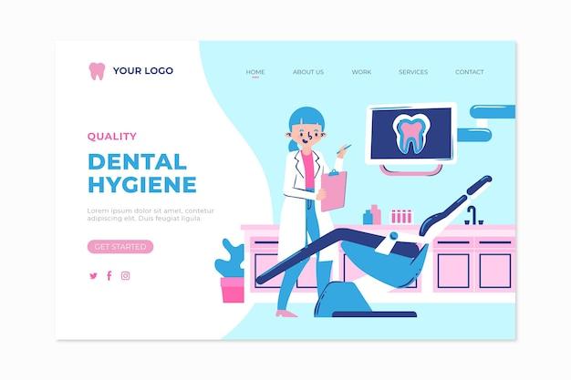 Platte ontwerp bestemmingspagina voor tandheelkundige zorg