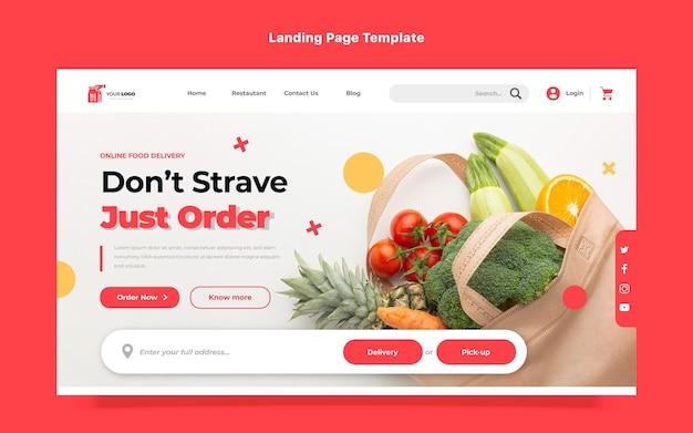 Platte ontwerp bestemmingspagina voor voedselbezorging