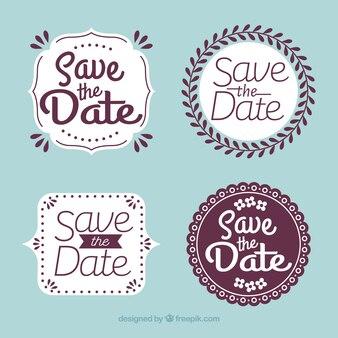 Platte ontwerp bewaar de datumlabel / badge-verzameling