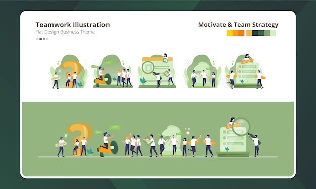 Platte ontwerp bij het verzamelen van teamwerk illustratie, motivatie en teamstrategie