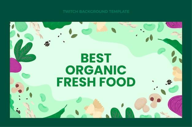 Platte ontwerp biologisch voedsel twitch achtergrond