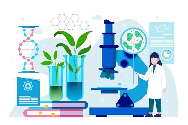 Platte ontwerp biotechnologie concept geïllustreerd