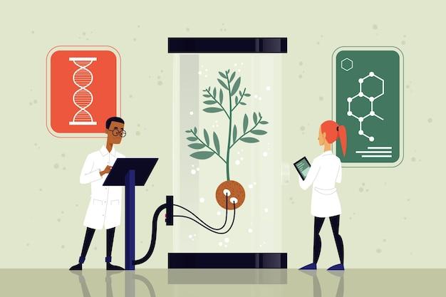 Platte ontwerp biotechnologie concept