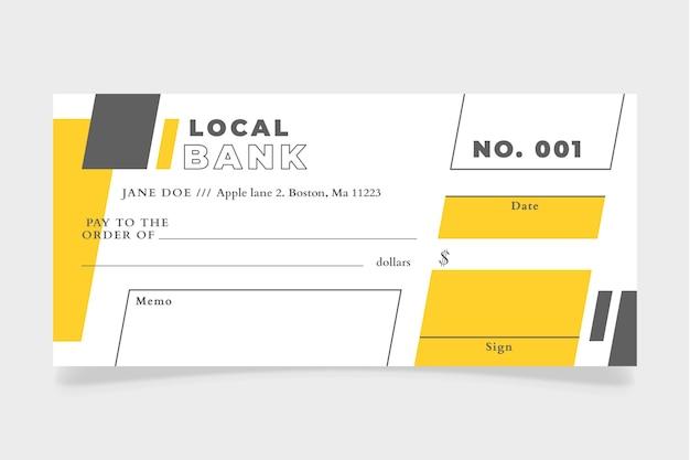 Platte ontwerp blanco cheque sjabloon
