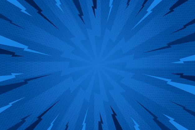 Platte ontwerp blauwe komische stijl achtergrond