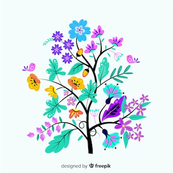 Platte ontwerp bloementak