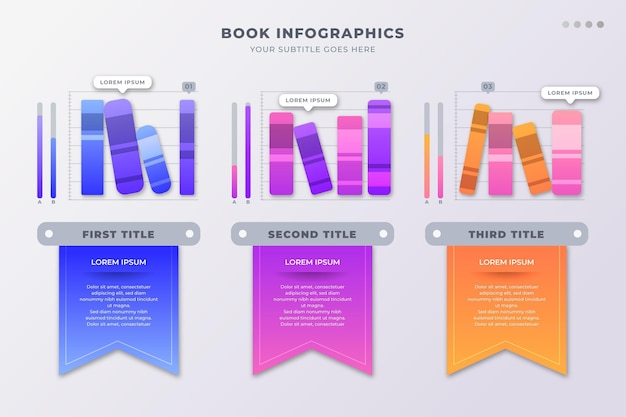 Platte ontwerp boek infographic met plaatshouder voor tekst