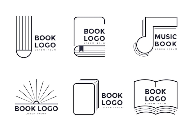 Platte ontwerp boek logo set