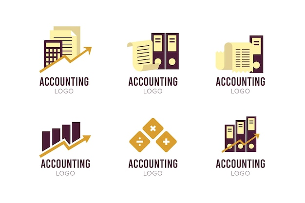 Platte ontwerp boekhoudkundige logo-collectie