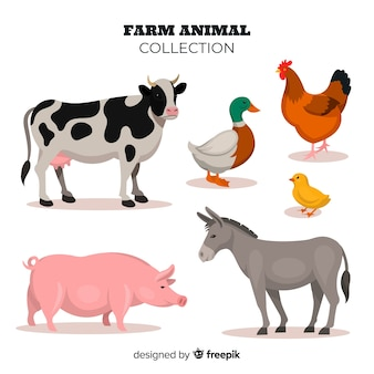Platte ontwerp boerderij dieren collectie