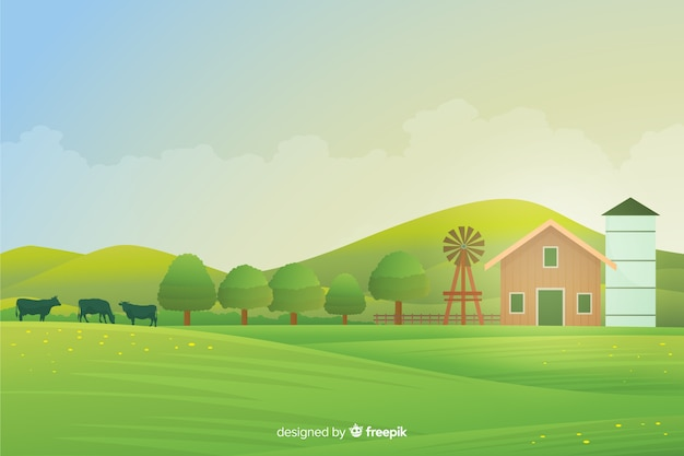 Platte ontwerp boerderij landschap-achtergrond
