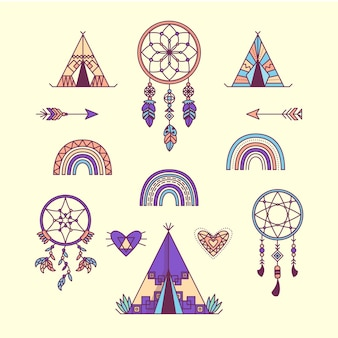 Platte ontwerp boho-elementencollectie