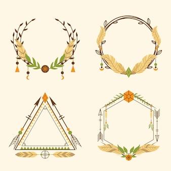 Platte ontwerp boho frames pack
