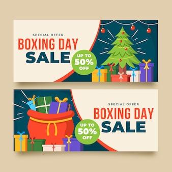 Platte ontwerp boksdag verkoop banners sjabloon