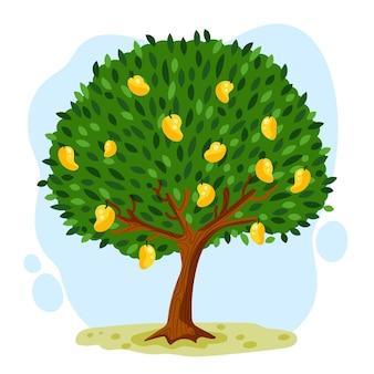 Platte ontwerp botanische mangoboom met fruit