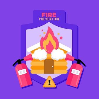 Platte ontwerp brandpreventie geïllustreerd