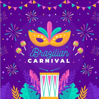 Platte ontwerp braziliaans carnaval vuurwerk