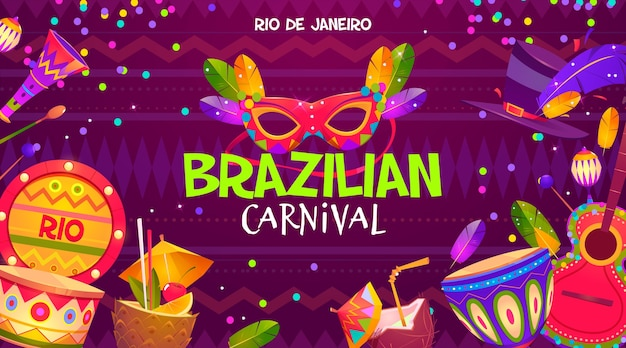 Platte ontwerp braziliaanse carnaval achtergrond