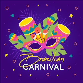 Platte ontwerp braziliaanse carnaval concept