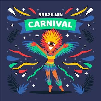 Platte ontwerp braziliaanse carnaval danseres