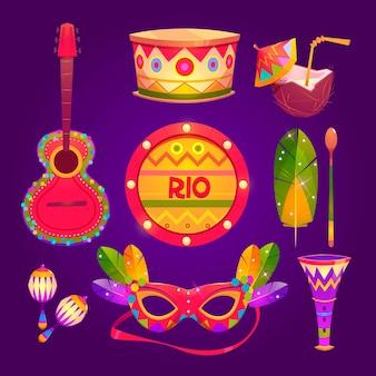 Platte ontwerp braziliaanse carnaval elementen