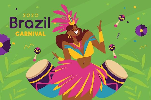 Platte ontwerp braziliaanse carnaval evenemententhema