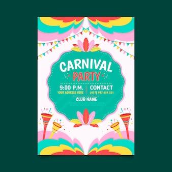 Platte ontwerp braziliaanse carnaval flyer