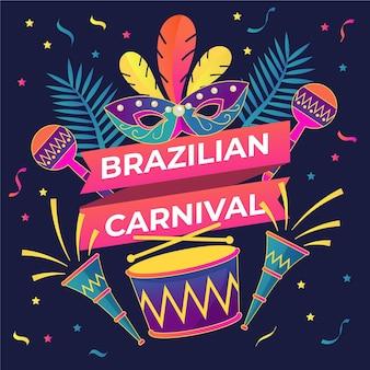 Platte ontwerp braziliaanse carnaval illustratie