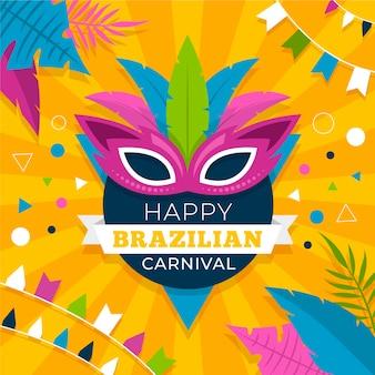 Platte ontwerp braziliaanse carnaval kleurrijke veren